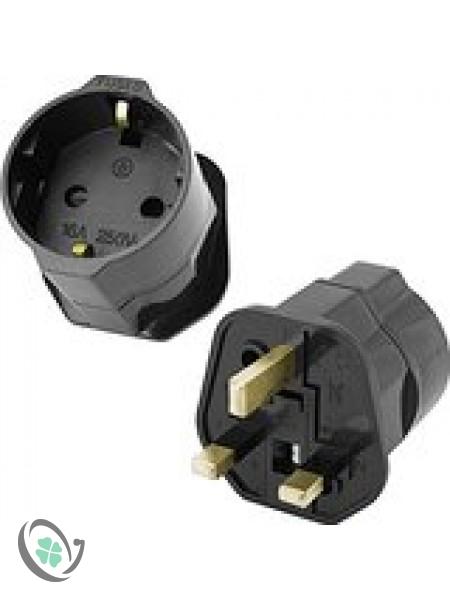 Plug in 2 Pin to 3 Pin Plug Adapter (EU to IRL/UK)