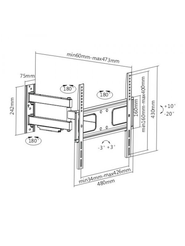 articulating curved  u0026 flat panel tv bracket cts60 for